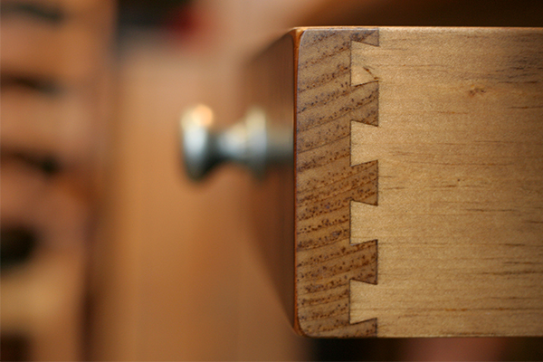 An image of a drawer which has been created using dovetail joints